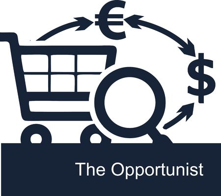 Vector illustration on white background of the concept of the activities of opportunists in business. Opportunistic entrepreneur is looking for ways to vary earn money in different currencies.
