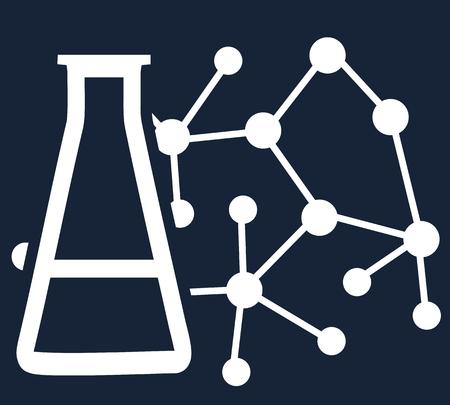 과학, 의학 또는 연구의 주제에 간단한 플랫 벡터. 분자 및 화학 물질 비이 커의 상징적 인 윤곽선 그림 일러스트