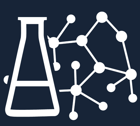 Simple flat vector on the theme of science, medicine or research. Symbolic contour illustration of a molecule and a beaker with a chemical substance