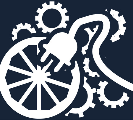 Simple flat vector clipart on the dark background. Symbolic illustration of a wheel, a few gears and an electric plug in white on a blue backdrop Çizim