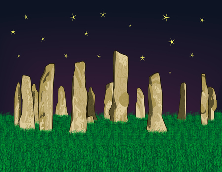 A Vector illustration of Callanish Stones at night on a background of dense green grass and starry sky.