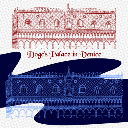 a Vector outline detailed sketch of the Palazzo Ducale in Venice. Italiano Doges Palace painted in red and blue color on the square paper