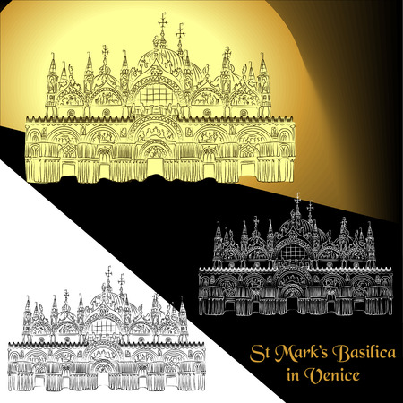 a Vector illustration of St. Mark's Basilica in Venice (Italy). Contour detailed sketch of the Patriarchal Cathedral Basilica of Saint Mark Vettoriali