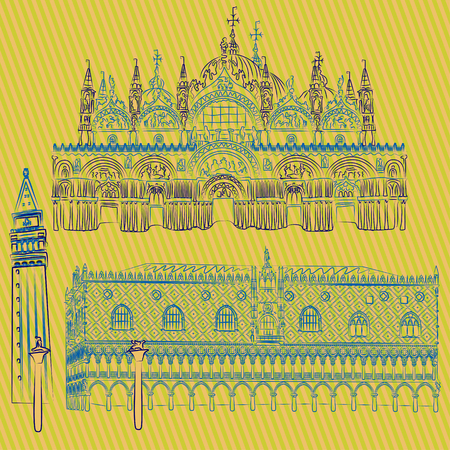 a Vector sketches of the Doges Mark's Basilica, Saint Mark Campanile and the Columns of San Marco and San Teodoro.