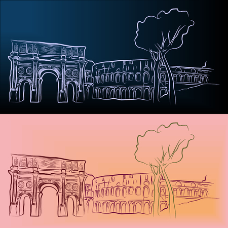 a Vector outline sketch of the Arch of Constantine and the Colosseum in Rome.