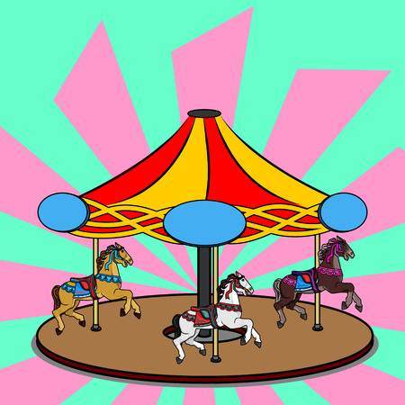 Full-color vector illustration of a carousel with three photorealistic horses. Bright colorful clipart of the round swirling