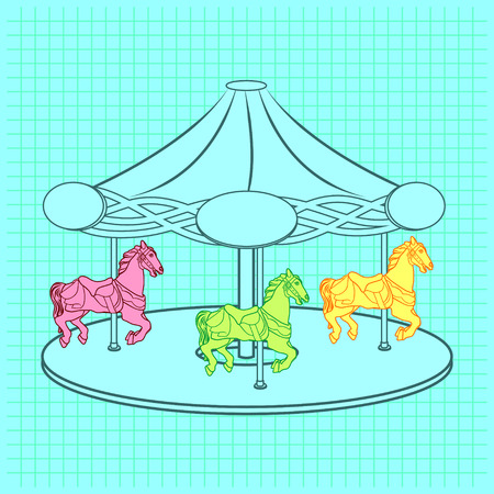 Simple flat colorless contour illustration of a carousel with three horses. Black and white linear sketch of the entertainment carrousel ride on squared paper