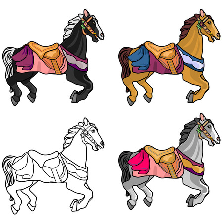 Set of four cute multi-colored horses on a white background. Full-color detailed isolated on white background a horse in harness and also a contour sketch for coloring