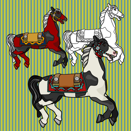 Beautiful horse in spots on a striped background. Set of three multi-colored vector characters of stallions in harness.