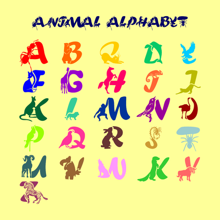 Full childish cute colorful vector alphabet with animals. All the letters of the ABC in the form of symbolic beasts Ilustração