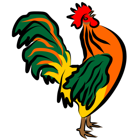Colorful vector illustration of the crowing rooster. Cartoon character rooster with his head up 矢量图像