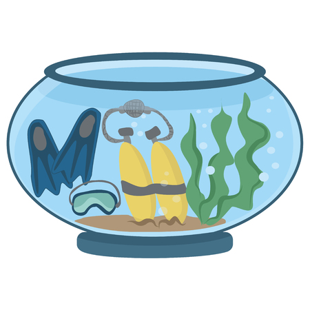 Aqualung and flippers on the bottom of the aquarium - vector clipart. Concept of safe diving - cartoon isolated illustration on white background