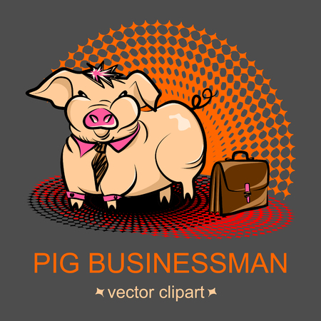 Cute fat cartoon pig businessman in a tie and with a case on a gray background. Vector clipart, concept of obesity office workers because they lead a sedentary lifestyle