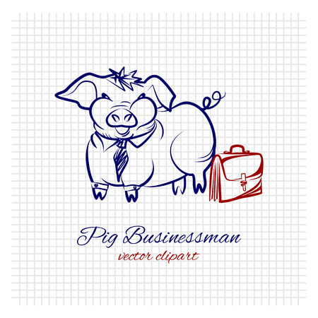 Contour sketch of a cute funny pig businessman in an office suit with a suitcase on a sheet of squared paper. A very fat hog with a tie and briefcase is a concept of obesity problems among people with a sedentary lifestyle