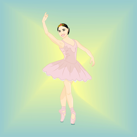 Beautiful graceful mascot of the brunette - vector illustration in pastel colors. The female photorealistic dancer character stands with crossed legs and a raised hand in the Ballet Position of Croise (quo say) Çizim