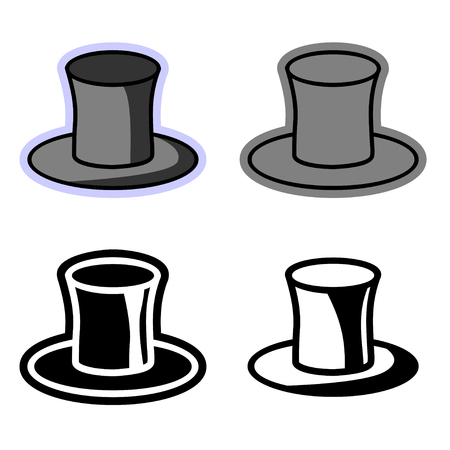 Vector simple flat icons of the top hat. Set of four multicolored clipart cylinder hats suitable for design, embroidery or engraving