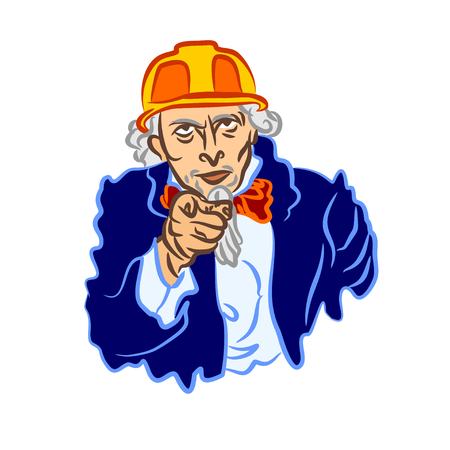 Uncle Sams vector cartoon in a Construction Safety Helmet. A simple flat color caricature of the builder Uncle Sam