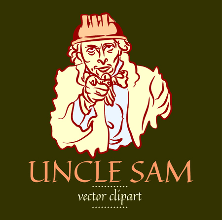 Simple flat contour vector portrait of Uncle Sam in a construction helmet. Caricature of the USA symbol