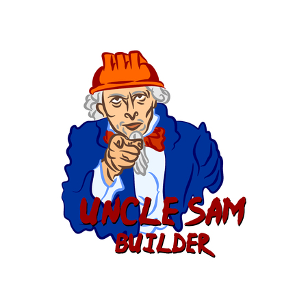Builder Uncle Sam in the hard hat points with his finger. Color vector caricature - the concept of recruitment for industry or construction in USA