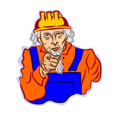 Color vector cartoon uncle. A comic caricature Illustration