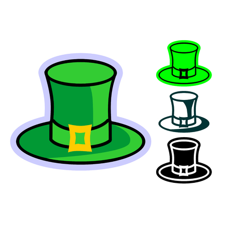 A simple flat cartoon icon of green Leprechaun Hat. Set of vector hand drawn illustrations of the green top hats with gold buckle for design on St. Patrick's Day Vectores