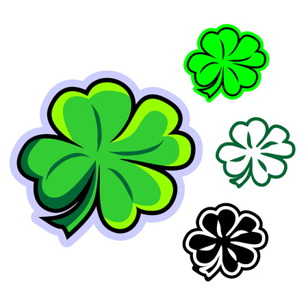 Simple flat vector clipart of four-leafed clover. Cartoon clover leaf icon - symbol of St. Patrick's Day in Ireland