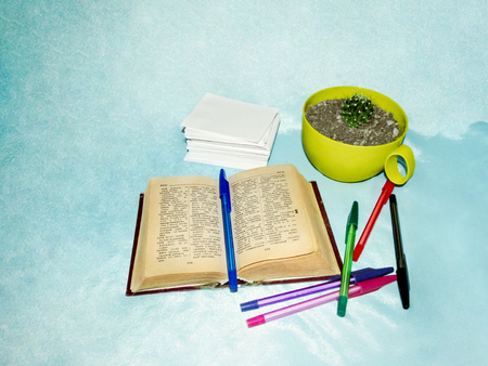 A small book - dictionary, colored pens, a stack of the sheets of paper and a cactus in a yellow pot on a light blue background. Creative photo, the concept of teaching, learning foreign languages
