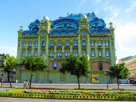 Ukraine, Odessa - June 09, 2015: Hotel Bolshaya Moskovskaya on Derybasivska Street in Odessa. Beautiful old building in the tourist center of Odesa, summer landscape