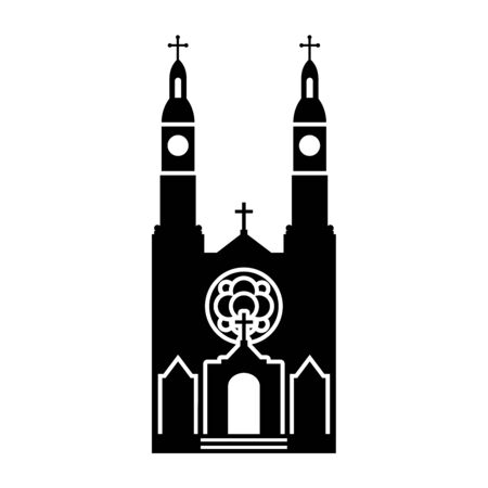 Simple vector icon of  St. Stanislaus Catholic Church in Milwaukee (United States). Black silhouette of a catholic temple with two chapels, isolated on white background