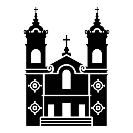 Simple icon of the Catholic Church of Immaculate Heart Of Mary Oratory in San Jose (California, USA). Black silhouette of the temple building on a white background Ilustración de vector