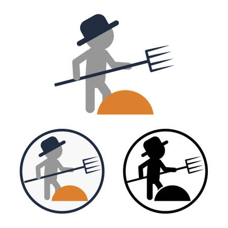 Set of black and white and color icons of the farmer with pitchfork. Simple flat vector symbol of harvesting in the field