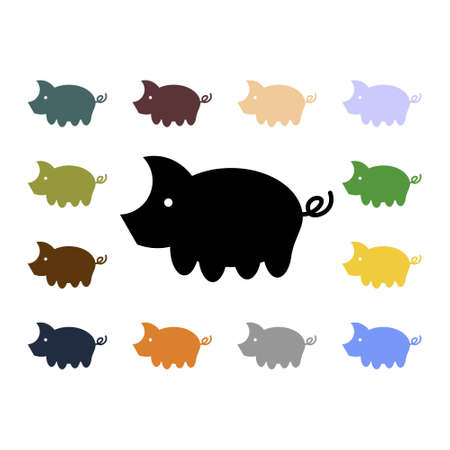 Set of simple flat vector pig icons. Abstract pattern of silhouettes of the sow with colorful little piglets