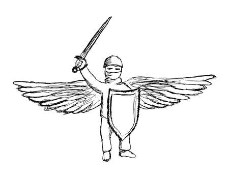 Simple lineart pencil hand-drawing of winged warrior with sword and shield. Black and white outline vector clipart of modern guardian-angel