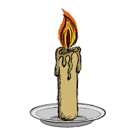 Color vector clipart candle with fire on a plate. Illustration of a burning candle on a candlestick with melted wax or paraffin