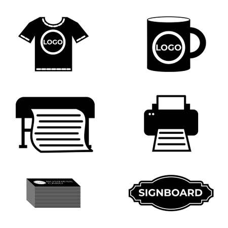 Set of black and white simple icons for website polygraphy, advertising and print services. Vector silhouettes of business cards, signboard, printer, plotter, cup and t-shirt