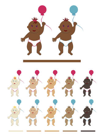 Vector set of standing babies in diapers and holding a balloon in their hand. Simple flat cliparts of toddler boys and girls with different skin, eye and hair color Illustration