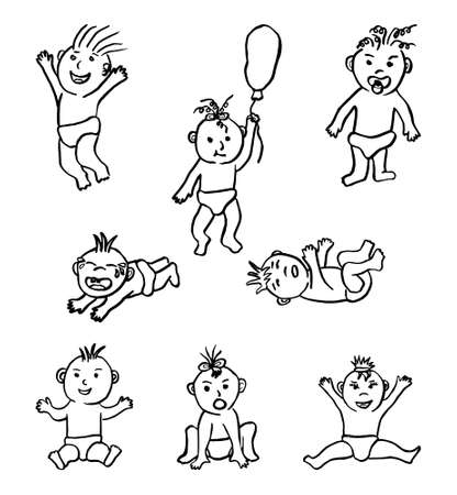 Set of black and white vector sketches of funny babies. A casual hand drawing of children in diapers with different faces and in different poses Vector Illustration