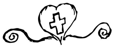 Simple grunge vector clipart of a heart with a cross inside. Freehand black and white outline drawing. The concept of faith, kindness, medicine, etc.