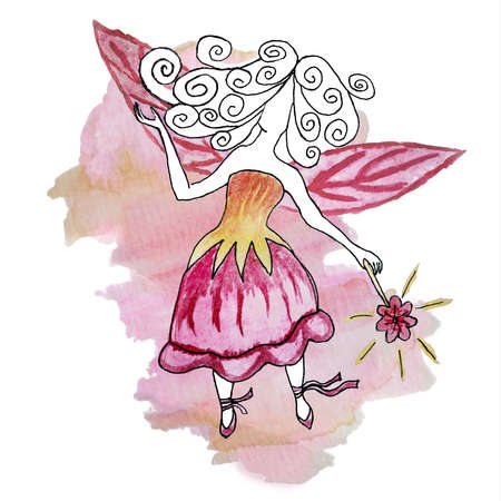 Watercolor drawing of a faceless fairy-princess in a bellflower-dress with a magic wand in her hand against the background of a shapeless pink spot. Delicate girly poster