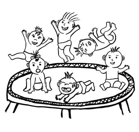 Vector black and white linear sketch of funny babies jumping on a trampoline. Simple clipart of children playing in different poses, with different moods and faces