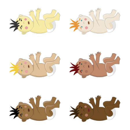 Set of six multinational baby boys lying on their back. Vector cliparts of toddlers with colorful hair, eyes and skin Illustration