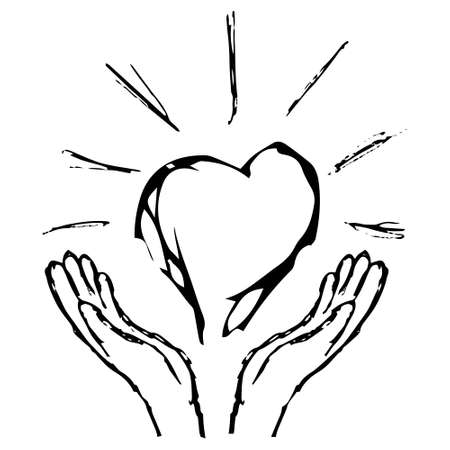 Black and white grunge sketch of hands giving a glowing heart. Simple vector outline illustration. The concept of faith, kindness, medicine, etc. Illusztráció