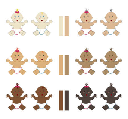 Set of surprised multicolored sitting babies. Vector cliparts of multinational assorted naked toddler boys and girls wearing diapers Ilustração