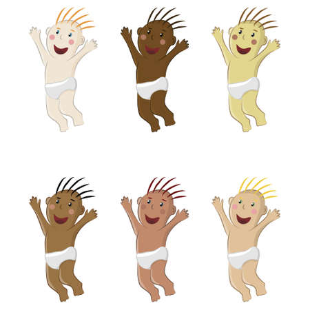 Vector clipart of a happy laughing jumping baby. Set of naked toddler boys in diapers with different skin, eye and hair colors