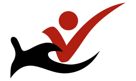 Red and black creative vector hand holding check mark icon. Simple flat symbol. The concept of care, maintenance and support for users, clients, customers, etc.