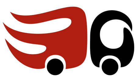 Red and black creative vector fast truck icon. Simple flat symbol. Delivery, logistics and other movement concept