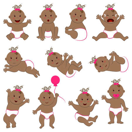 Vector collection of different poses and moods of cute curly baby girl with light brown skin and brown eyes and hair. Naked toddler child characters set in diapers and pink bow on head