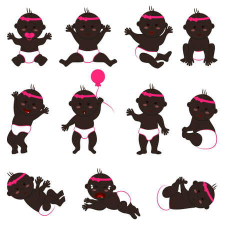 Vector collection of movements and moods of black baby girl. Set of naked children in diapers with a bow with dark skin and black eyes