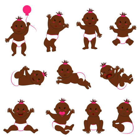 Vector collection of movements of dark-skinned baby girl with slanted eyes. Eleven different poses and facial expressions of a naked toddler in diapers with brown skin and dark eyes 向量圖像