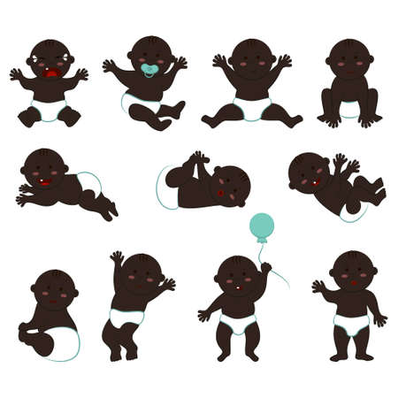 Large vector set of poses and moods of a dark-skinned naked baby boy in diapers. Cliparts of a bald little kid with black skin, eyes and hair 向量圖像
